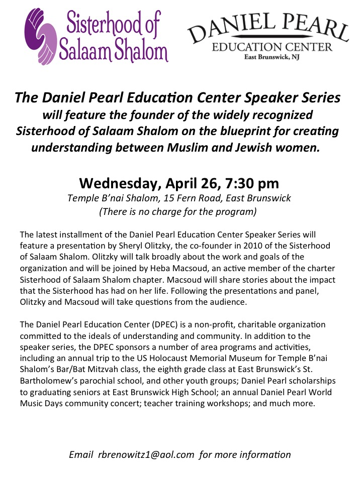 Events the daniel pearl education center speaker series to feature sisterhood of salaam shalom malvernweather Image collections